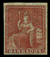 Lot 846 [1 of 2]:1852-55 Blued Paper No Watermark Imperf (½d) deep green, (1d) blue, (1d) deep blue, (2d) greyish slate (tiny discolouration, guarantee handstamp) & (4d) brownish red SG #2-5 incl 4a, complete margins, Cat £670.