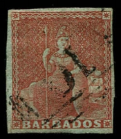 Lot 1456:1852-55 Blued Paper No Watermark Imperf (4d) brownish-red SG #5, complete margins, fine used with BN '10' cancel of St Peter. Cat £275.