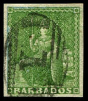 Lot 1457 [1 of 4]:1855-58 White Paper No Watermark Imperf (½d) yellow-green, (½d) green, (1d) pale blue & (1d) deep blue SG #7-10, largely complete (SG #10) or complete margins (SG #7-9), fine to very fine used. Cat £390. (4)