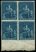 Lot 1458:1855-58 White Paper No Watermark Imperf (1d) deep blue SG #10 marginal block of 4, very fresh MUH. Cat £400++. Rare multiple.