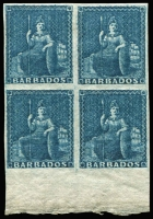 Lot 1232:1855-58 White Paper No Wmk Imperf (1d) deep blue SG #10 marginal block of 4, very fresh MUH. Cat £400++. Rare multiple.