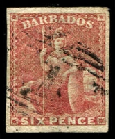 Lot 829 [1 of 3]:1858 No Watermark Imperf 6d pale rose-red, 6d deep rose-red & 1/- black SG #11,11a,12a, all with complete margins, fine used, Cat £375. (3)
