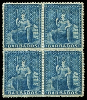 Lot 1200:1861-70 No Watermark Rough Perf 14-16 (1d) blue SG #23 block of 4, lower units MVLH, Cat £320+.