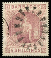 Lot 1387:1873 Wmk Small Star 5/- dull rose SG #64, couple of trivial thins in left margin, excellent centring, very fine used, Cat £300.