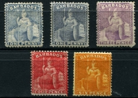 Lot 1202 [2 of 2]:1875-81 Wmk Crown CC Perf 14 ½d bright green, 1d dull blue, 1d grey-blue, 3d mauve-lilac & 4d red mint, plus 6d chrome-yellow (without gum) SG #72-76,79, generally fine part to large-part gum, Cat £775. (6)