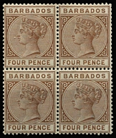 Lot 1164 [2 of 2]:1882-86 Wmk Crown CA 1d rose (three units MUH, gum evenly aged) & 4d pale brown (MUH) SG #91,98 in blocks of 4, very fine. Cat £488+. (8)