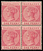 Lot 1164 [1 of 2]:1882-86 Wmk Crown CA 1d rose (three units MUH, gum evenly aged) & 4d pale brown (MUH) SG #91,98 in blocks of 4, very fine. Cat £488+. (8)
