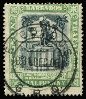 Lot 1274:1906 Nelson Centenary ½d black & pale green, variety Watermark reversed SG #146x, very fine used, Cat £120.