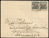 Lot 866:1907 Kingston Relief Fund 1d on 2d pair on local cover, right-hand unit variety No stop after '1d' SG #153e, minor toning around stamps, Cat £110+ (as fine used).