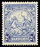 Lot 1470 [2 of 2]:1938-47 Badge 2½d blue variety Mark on central ornament [1/3, 2/3, 3/3] SG #251bb, also 4d black variety Curved line at top right [7/8] #253b; both fresh MUH, Cat £235. (2)