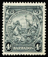 Lot 1470 [1 of 2]:1938-47 Badge 2½d blue variety Mark on central ornament [1/3, 2/3, 3/3] SG #251bb, also 4d black variety Curved line at top right [7/8] #253b; both fresh MUH, Cat £235. (2)
