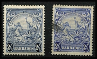 Lot 942 [2 of 3]:1938-47 Badge varieties comprising ½d bistre Recut line SG #248ccb, 2½d ultramarine Mark on central ornament SG #251a in a strip of 5 MUH plus single used example, also 2½d blue Mark on central ornament mint, Cat £230+. (4 items.)