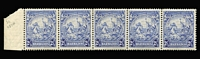 Lot 1210 [3 of 3]:1938-47 Badge varieties comprising ½d bistre Recut line SG #248ccb, 2½d ultramarine Mark on central ornament SG #251a in a strip of 5 MUH plus single used example, also 2½d blue Mark on central ornament mint, Cat £230+. (4 items.)