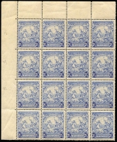 Lot 1468:1938-47 Badge 2½d ultramarine marginal block of 16 (4x4) with variety Mark on central ornament x3 [1/3, 2/3 & 3/3] SG #251a, reinforced perf separations between rows 2 & 3, uniform aged gum, Cat £165+.