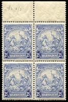 Lot 1278:1938-47 Badge 2½d ultramarine marginal block of 4 with variety Mark on central ornament x2 [1/3 & 2/3] SG #251a, uniform gum aging, MUH, Cat £110+.