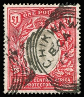Lot 1446:1903-04 Wmk Crown CC KEVII £1 grey & carmine SG #66, fine used with Chickwawa squared-circle datestamp, Cat £225.