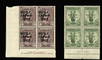 Lot 346:1946-49 1d MLH & 1/- MUH imprint blocks of 4, BW #J2z & J5z, Cat $160.