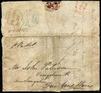 "Lot 1225:1846 (Oct 19) entire letter to Sanquhar, Scotland, rated ""1/-"" with large-part Demerara 'OC19/1846' departure datestamp in red, very fine Sanquhar 'NO23/1846' arrival datestamp in blue. Defects and somewhat soiled."