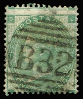 Lot 1188 [2 of 2]:1860-76 Issues Used In Buenos Ayres QV Wmk Emblems 1862 1/- green & 1865 1/- green Pl 4 wing-margin, each with clear 'B32' cancels, Cat £330. (2)