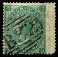 Lot 1188 [1 of 2]:1860-76 Issues Used In Buenos Ayres QV Wmk Emblems 1862 1/- green & 1865 1/- green Pl 4 wing-margin, each with clear 'B32' cancels, Cat £330. (2)