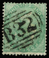 Lot 1187 [1 of 2]:1860-76 Issues Used In Buenos Ayres QV 1856 1/- green with bold 'B32' cancel SG #Z22, fine used, Cat £275.