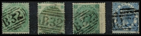 Lot 1395 [2 of 2]:1860-76 Issues Used in Buenos Ayres QV 1865 9d straw Pl 4 wing-margin example with fine 'B32' cancel SG #Z19, fine used, 1856 1/- green with bold 'B32' cancel SG #Z22, fine used, Emblems 1862 1/- green & 1865 1/- green Pl 4 wing-margin, each with clear 'B32' cancels SG #Z23-24; also Uruguay 1864-73 Issues Used In Montevideo 2/- blue Pl 1 with clear 'C28' cancel SG #Z23, trimmed right margin & pulled perf; total Cat £1,275+. (5)