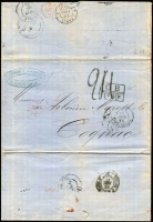 Lot 1622:1871 (Nov 13) Caride & Massini commercial entire letter to Cognac, France, rated in manuscript, routed via GB with British 'GB/1f60c' (per 30gr) accountancy handstamp in black, Buenos Ayres (British Postal Agency) double-arc departure datestamp, London, Angl/Amb Calais (month slug error) & Paris transits and Cognac arrival datestamp, minor aging, fine overall.