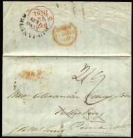 "Lot 1397:1851 (Nov 13) Le Breton & Co commercial entire to Scotland with very fine British 'RIO-JANEIRO/13NO/1851' departure backstamp in black, rated ""2/-"" superb 'DEC/12/1851' arrival datestamp in red, fine condition."