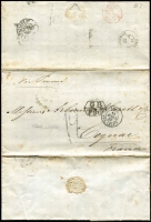 "Lot 1460 [2 of 2]:1864-67 pre-stamp mail ""via Panama"" to France comprising [1] 1864 large-part outer with British Valparaiso double-arc departure backstamp, 'GB/2f87.5c' accountancy handstamp, '19' tax handstamp, London & Calais transits & Amiens arrival backstamp; [2] 1867 entire with 'GB/1f90' accountancy handstamp, '19' tax handstamp, London, Calais & Bordeaux transits & Cognac arrival backstamp. (2)"