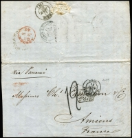 "Lot 1460 [1 of 2]:1864-67 pre-stamp mail ""via Panama"" to France comprising [1] 1864 large-part outer with British Valparaiso double-arc departure backstamp, 'GB/2f87.5c' accountancy handstamp, '19' tax handstamp, London & Calais transits & Amiens arrival backstamp; [2] 1867 entire with 'GB/1f90' accountancy handstamp, '19' tax handstamp, London, Calais & Bordeaux transits & Cognac arrival backstamp. (2)"