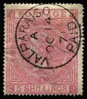 Lot 1194:1865-81 Issues Used In Valparaiso QV 5/- rose Pl 1 with fine & complete 'VALPARAISO/A/OC14/71/PAID' datestamp SG #Z88, faded manuscript cancel beneath, minor wrinkling, Cat £400.