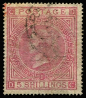 Lot 1193 [2 of 2]:1865-81 Issues Used In Valparaiso QV 5/- rose Pl 1 with Valparaiso datestamp & Pl 2 with 'C30' cancel SG #Z88, fine used, Cat £800. (2)