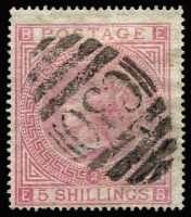 Lot 1193 [1 of 2]:1865-81 Issues Used In Valparaiso QV 5/- rose Pl 1 with Valparaiso datestamp & Pl 2 with 'C30' cancel SG #Z88, fine used, Cat £800. (2)