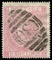 Lot 1623 [2 of 4]:1865-81 Issues Used in Valparaiso QV 6d grey Pl 15 SG #Z75 pair plus 1/- Pl 12 SG #Z84 pair & single on small piece with Type 12 'C30' cancels, QV 5/- rose Pl 1 SG #Z88 x2, one with fine & complete 'VALPARAISO/A/OC14/71/PAID' datestamp (faded manuscript cancel beneath, minor wrinkling), and 5/- rose Pl 2 with 'C30' cancel; generally fine, Cat £1,475+. (4 items)
