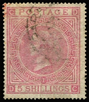 Lot 1623 [3 of 4]:1865-81 Issues Used in Valparaiso QV 6d grey Pl 15 SG #Z75 pair plus 1/- Pl 12 SG #Z84 pair & single on small piece with Type 12 'C30' cancels, QV 5/- rose Pl 1 SG #Z88 x2, one with fine & complete 'VALPARAISO/A/OC14/71/PAID' datestamp (faded manuscript cancel beneath, minor wrinkling), and 5/- rose Pl 2 with 'C30' cancel; generally fine, Cat £1,475+. (4 items)