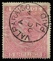 Lot 1623 [1 of 4]:1865-81 Issues Used in Valparaiso QV 6d grey Pl 15 SG #Z75 pair plus 1/- Pl 12 SG #Z84 pair & single on small piece with Type 12 'C30' cancels, QV 5/- rose Pl 1 SG #Z88 x2, one with fine & complete 'VALPARAISO/A/OC14/71/PAID' datestamp (faded manuscript cancel beneath, minor wrinkling), and 5/- rose Pl 2 with 'C30' cancel; generally fine, Cat £1,475+. (4 items)