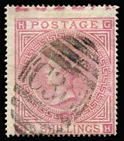 Lot 1191 [2 of 3]:1865-81 Issues Used in Valparaiso 'C30' cancels on 4d vermilion Pl 12 & 13, 4d sage-green Pl 15 & 16, 6d violet Pl 8 x2 & Pl 9, 6d chestnut Pl 11, 6d grey Pl 12, Pl 15 & Pl 16 x3, 9d straw Pl 4 x3, 10d red-brown x2 (one with Vaparaiso datestamp), 1867-73 1/- green Pl 4, Pl 5 x2, 1873-77 1/- green Pl 12 x2 & Pl 13 x3, 1/- orange-brown, 2/- blue x2 & 5/- rose x2; variable condition with some nibbed perfs or straight edges, many are fine, Cat £4,000+.