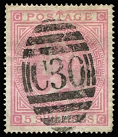 Lot 1191 [1 of 3]:1865-81 Issues Used in Valparaiso 'C30' cancels on 4d vermilion Pl 12 & 13, 4d sage-green Pl 15 & 16, 6d violet Pl 8 x2 & Pl 9, 6d chestnut Pl 11, 6d grey Pl 12, Pl 15 & Pl 16 x3, 9d straw Pl 4 x3, 10d red-brown x2 (one with Vaparaiso datestamp), 1867-73 1/- green Pl 4, Pl 5 x2, 1873-77 1/- green Pl 12 x2 & Pl 13 x3, 1/- orange-brown, 2/- blue x2 & 5/- rose x2; variable condition with some nibbed perfs or straight edges, many are fine, Cat £4,000+.