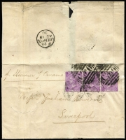 "Lot 1353:1870 Issues Used In Valaparaiso 1870 outer to Liverpool ""p Steamer of Panama"" with 6d violet Pl 8 SG #Z71 marginal strip of 3 tied by barred 'C30' cancels, weak Valparaiso datestamps beneath, Liverpool arrival backstamp, internal fault well clear of stamps which are fine."