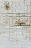 "Lot 1198:1855 (Feb 6) French entire addressed to Marseilles endorsed ""via Southampton"" entering British packet service at Panama with largely fine strike of British 'PANAMA/FE22/1855' double arc datestamp, COLONIES/&C ART 13' accountancy handstamp in red applied in London, Paris transit & Bordeaux '23MARS/55' arrival datestamp."