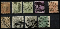 Lot 1401 [2 of 3]:1865-81 Issues Used in Panama 'C35' cancels on GB QV issues comprising 1d red Pl 80 SG #Z72, 4d Vermilion Pl 15 #Z86 (scarce, Cat £300), 4d sage-green #Z86 x2, 6d violet #Z92, 6d buff #Z93, 6d grey #Z96 x2, 1/- Pl 4 #Z103 (defective), 1/- Pl 13 #Z104 x5 (including fine Pl 12 wing-margin pair), 2/- blue #Z107, 5/- #Z109 (faults) & 1880 2d rose #Z111; also 4d red Pl 4 (Hair lines) SG #Z84 pair & single on piece cancelled by Parmenter Type 4VOD 'JU5/65' duplex (early date), generally fine, Cat £1,800+ (ex 1/- Pl 4 & 5/-). (20 stamps)