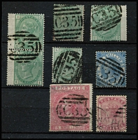 Lot 1401 [3 of 3]:1865-81 Issues Used in Panama 'C35' cancels on GB QV issues comprising 1d red Pl 80 SG #Z72, 4d Vermilion Pl 15 #Z86 (scarce, Cat £300), 4d sage-green #Z86 x2, 6d violet #Z92, 6d buff #Z93, 6d grey #Z96 x2, 1/- Pl 4 #Z103 (defective), 1/- Pl 13 #Z104 x5 (including fine Pl 12 wing-margin pair), 2/- blue #Z107, 5/- #Z109 (faults) & 1880 2d rose #Z111; also 4d red Pl 4 (Hair lines) SG #Z84 pair & single on piece cancelled by Parmenter Type 4VOD 'JU5/65' duplex (early date), generally fine, Cat £1,800+ (ex 1/- Pl 4 & 5/-). (20 stamps)