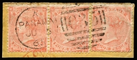 Lot 1401 [1 of 3]:1865-81 Issues Used in Panama 'C35' cancels on GB QV issues comprising 1d red Pl 80 SG #Z72, 4d Vermilion Pl 15 #Z86 (scarce, Cat £300), 4d sage-green #Z86 x2, 6d violet #Z92, 6d buff #Z93, 6d grey #Z96 x2, 1/- Pl 4 #Z103 (defective), 1/- Pl 13 #Z104 x5 (including fine Pl 12 wing-margin pair), 2/- blue #Z107, 5/- #Z109 (faults) & 1880 2d rose #Z111; also 4d red Pl 4 (Hair lines) SG #Z84 pair & single on piece cancelled by Parmenter Type 4VOD 'JU5/65' duplex (early date), generally fine, Cat £1,800+ (ex 1/- Pl 4 & 5/-). (20 stamps)