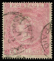 Lot 1201:1865-79 Issues Used In St Thomas 5/- rose Pl 2 with clearly discernible St Thomas Paid datestamp SG #Z32, fine used, Cat £450.