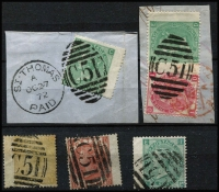 Lot 1200 [2 of 2]:1865-79 Issues Used In St Thomas wing-margin selection all with clear 'C51' cancels comprising 3d rose Pl 6 & 1/- green Pl SG #Z7 & Z29 on piece, 4d vermilion Pl 12 #Z10 strip of 3, 9d straw Pl 4 #Z26, 10d red-brown #Z27 (pulled perf), 1/- green Pl 4 #Z28 & 1/- green Pl 6 Z29 tied to piece by superb 'C51' duplex; generally fine. Nice group, Cat £870+. (6 items)