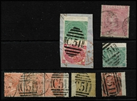 Lot 1675 [2 of 6]:1865-79 Issues Used in St Thomas selection with 1d red Pl 161 pair, 3d rose Pl 6 & 1/- green Pl 5 wing-margins SG #Z7 & Z29 on piece, 4d vermilion SG #Z10 x30 (various plates) including Pl 12 #Z10 strip of 3, 4d vermilion Pl 15 #Z11 x2, 4d sage-green x2, 6d lilac Pl 5, 6d buff Pl 11, 9d straw #Z23, 9d straw Pl 4 wing-margin #Z26, 10d red-brown x2, 1/- green #Z29 x5 including Pl 5 pair on piece, another on piece with 4d vermilion Pl 12 and a single example tied to piece by superb 'C51' duplex, 1/- green #Z30 x3, 2/- blue #Z31 x3, and 5/- rose Pl 2 with St Thomas Paid datestamp #Z32 condition variable, many are fine, Cat £5,250. (57)