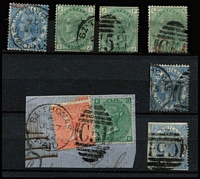 Lot 1403 [3 of 6]:1865-79 Issues Used in St Thomas selection with 1d red Pl 161 pair, 3d rose Pl 6 & 1/- green Pl 5 wing-margins SG #Z7 & Z29 on piece, 4d vermilion SG #Z10 x30 (various plates) including Pl 12 #Z10 strip of 3, 4d vermilion Pl 15 #Z11 x2, 4d sage-green x2, 6d lilac Pl 5, 6d buff Pl 11, 9d straw #Z23, 9d straw Pl 4 wing-margin #Z26, 10d red-brown x2, 1/- green #Z29 x5 including Pl 5 pair on piece, another on piece with 4d vermilion Pl 12 and a single example tied to piece by superb 'C51' duplex, 1/- green #Z30 x3, 2/- blue #Z31 x3, and 5/- rose Pl 2 with St Thomas Paid datestamp #Z32 condition variable, many are fine, Cat £5,250. (57)