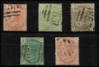 Lot 1405 [2 of 3]:1869-81 Issues Used in Port-Au-Prince 4d vermilion Pl 15, 4d sage-green Pl 16, 4d grey-brown Pl 17 & 1/- green Pl 9 (trimmed edges), Wmk Spray 1/- orange-brown pl 13 and 5/- rose Pl 2, all with good to fine strikes of 'E53' cancel SG #Z44-6, Z51-52 & Z56, Cat £1,750 (ex 1/- Pl 9). (6)