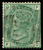 Lot 1405 [3 of 3]:1869-81 Issues Used in Port-Au-Prince 4d vermilion Pl 15, 4d sage-green Pl 16, 4d grey-brown Pl 17 & 1/- green Pl 9 (trimmed edges), Wmk Spray 1/- orange-brown pl 13 and 5/- rose Pl 2, all with good to fine strikes of 'E53' cancel SG #Z44-6, Z51-52 & Z56, Cat £1,750 (ex 1/- Pl 9). (6)