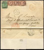 Lot 1407:1876 (May 10) outer to Paris with 1/- Pl 12 SG #Z51 & ½d Bantam #Z35 Pl 10 strip of 3 tied by weak strikes of 'E53' canceller with fine strike of British 'PORT-AU-PRINCE/MY10/76' datestamp beneath, London Paid & 'ANGL/AMB.CALAIS' transit datestamps on face, Paris arrival backstamp. Attractive & rare.
